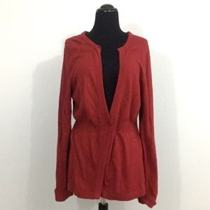 LOFT XL Red Angora Rabbit Hair Cardigan
